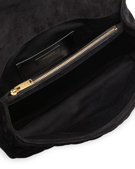 Monogram Large Mixed-Matelassé Suede Envelope Satchel Bag