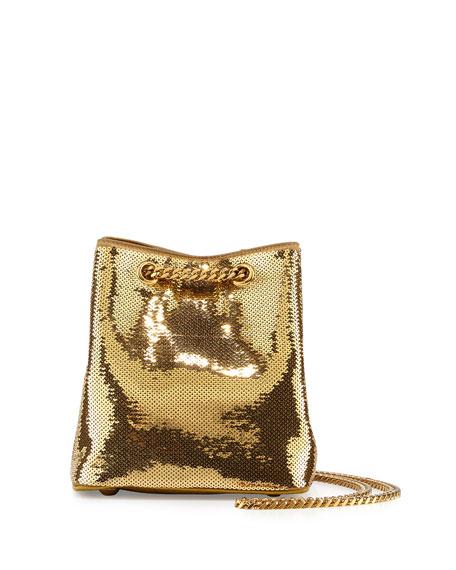 Saint Laurent Emmanuelle Sequined Baby Bucket Bag, Gold