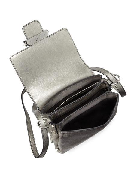 Twin Skull Leather Crossbody Bag, Dark Gray