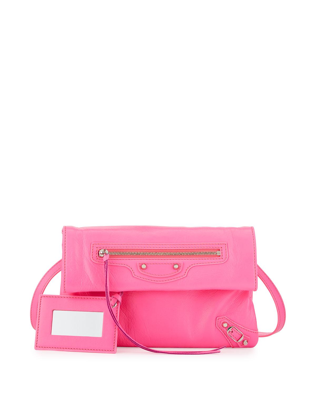 Classic Nickel Mini Envelope Crossbody Bag Hot Pink