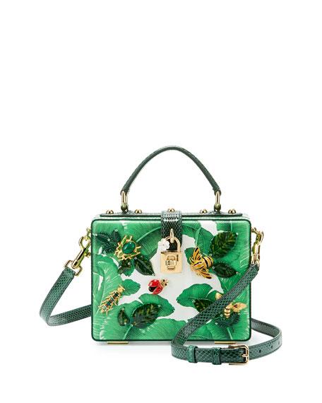 Leather Banana Leaf/Bugs Box Bag, Green/Multi