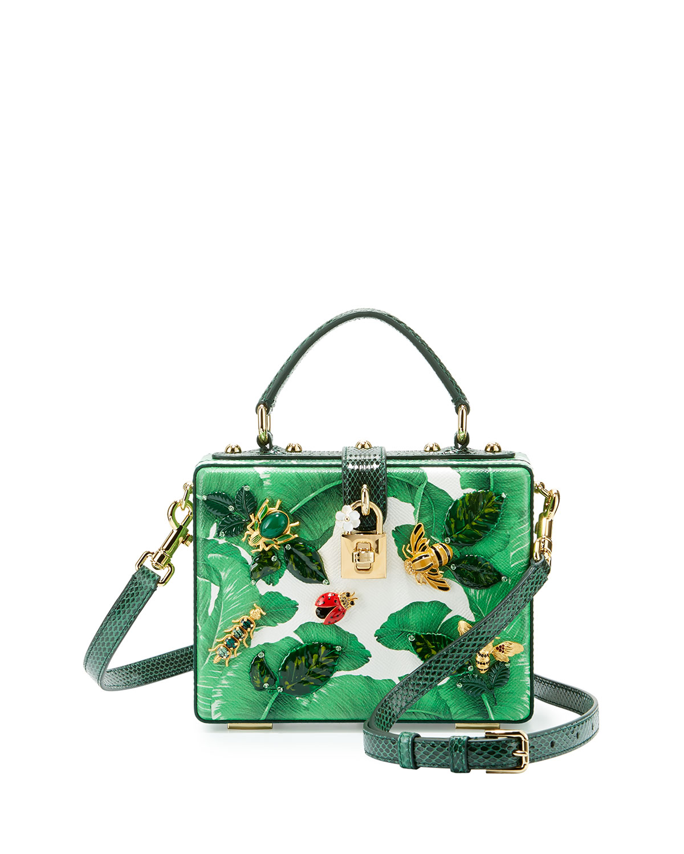 16a058b30d74 Dolce   Gabbana Leather Banana Leaf Bugs Box Bag