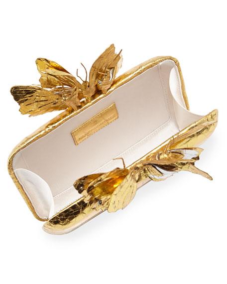 Butterfly Crocodile Box Clutch Bag, Gold Mirror