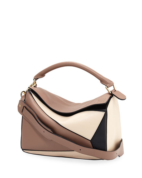 Puzzle Colorblock Leather Satchel Bag, Hazelnut/Black/Ivory
