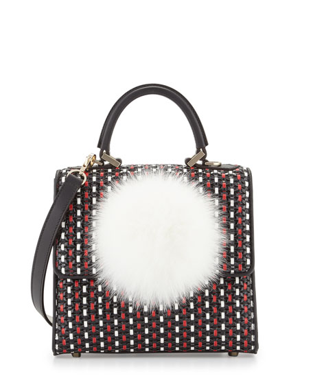 Mini Alex Woven-Leather Bunny Bag, Black/Red/White