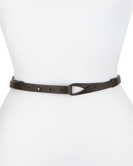 Brunello Cucinelli Pull-Through Leather Belt W/Monili Trim, Black