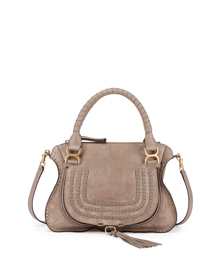 Chloe Marcie Suede Satchel Bag, Gray