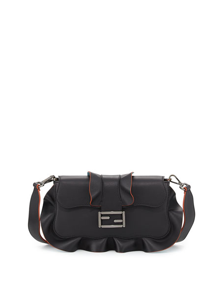 Fendi Baguette Wave Leather Bag, Black/Blue