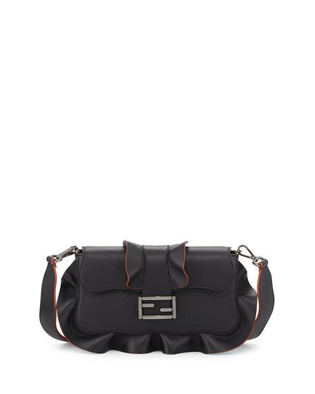 Fendi Baguette Wave Leather Bag, Black/Blue