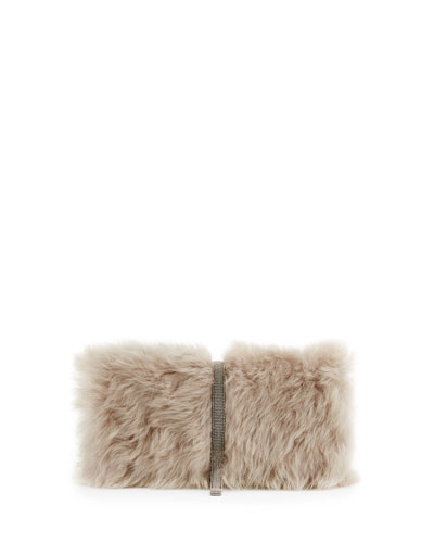 Small Shearling Monili Crossbody Bag, Beige