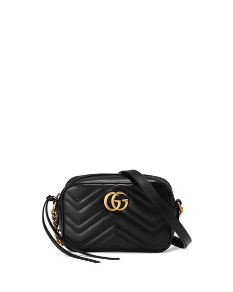 GG Marmont Mini Matelasse Camera Bag, Black
