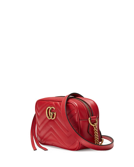 Gucci GG Marmont Mini Matelasse Camera Bag, Hibiscus Red