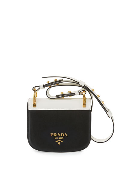 Prada Pionnière Web-Strap Shoulder Bag, Black/White
