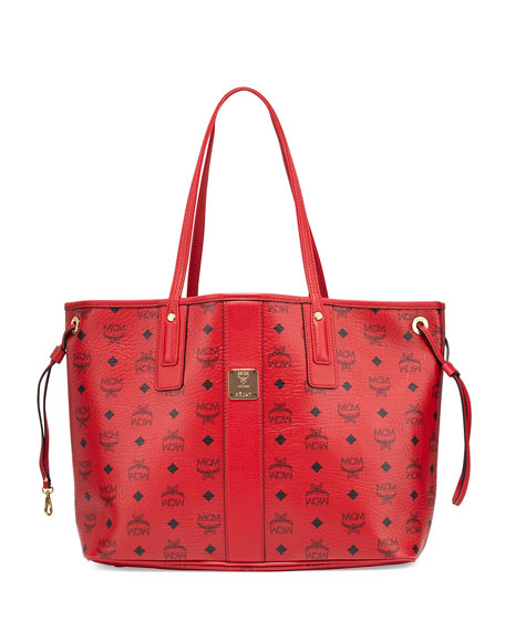 MCM Liz Reversible Medium Shopper Tote Bag, Ruby