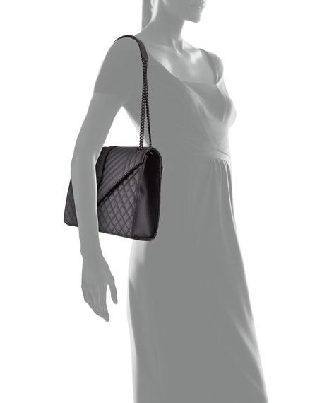 Monogram Large Chain Tri-Quilt Shoulder Bag, Black