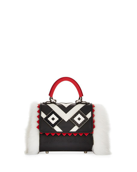 Micro Alex Mask Fur Satchel Bag, Black/White