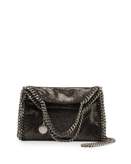 Falabella Tiny Shoulder Bag, Dark Gray