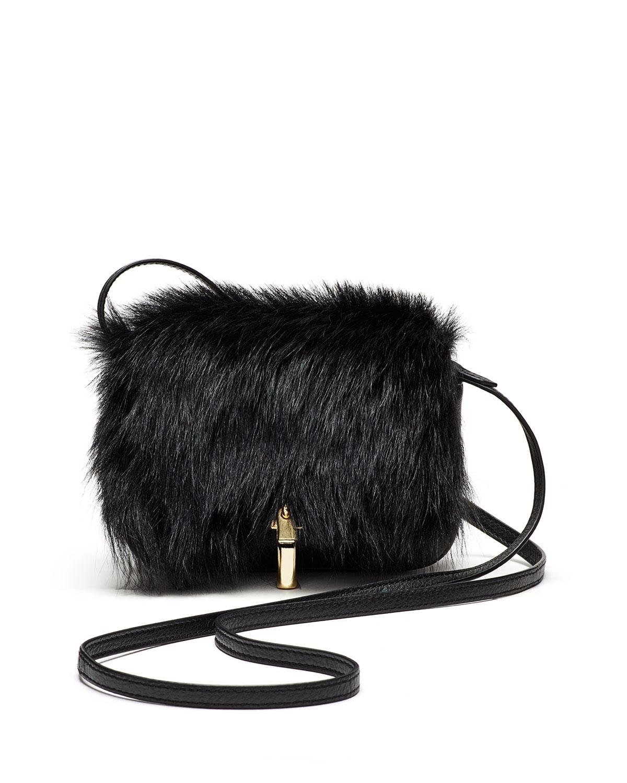 Cynnie Micro Shearling Fur Crossbody Bag Black