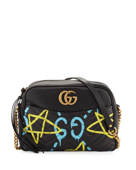 GG Writers Medium Graffiti-Print Camera Bag, Black/Multi