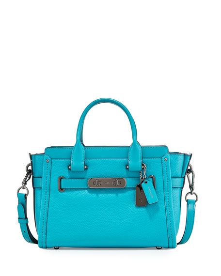Coach Swagger 27 Leather Satchel Bag, Turquoise