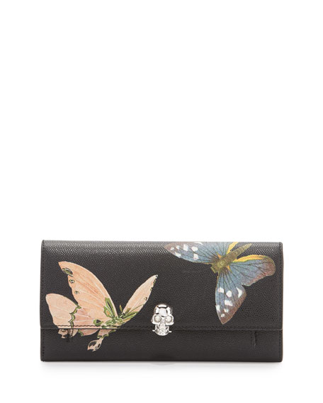 Alexander McQueen Butterfly Leather Skull Wallet-On-Chain,