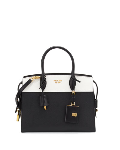 Esplanade Medium Bicolor City Satchel Bag, Black/White (Nero/Bianco)