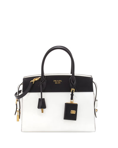 Esplanade Medium Bicolor City Satchel Bag, White/Black (Bianco/Nero)