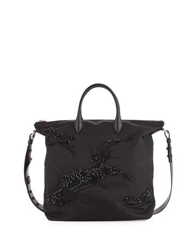 Large Nylon Beaded Tote Bag, Black (Nero)