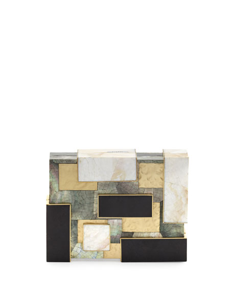 Ramya Cubist Minaudiere, Black/White/Gold