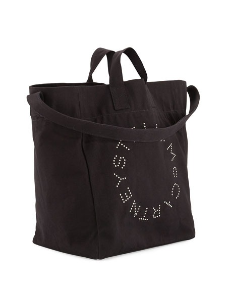 Logo Print Canvas Beach Tote Bag