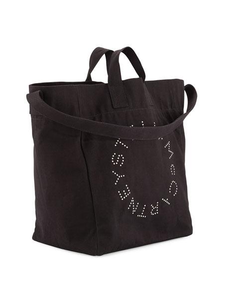 Logo Print Canvas Beach Tote Bag