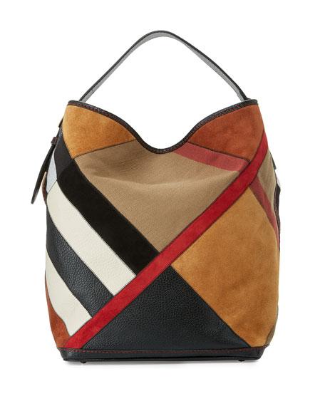 Burberry Ashby Colorblock Check Canvas Hobo Bag, Black/Multi