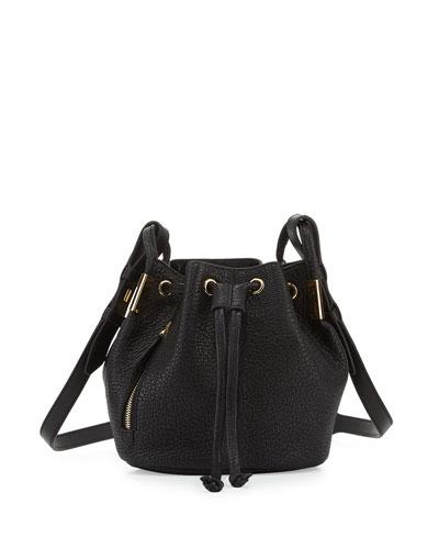 Lida Mini Leather Bucket Bag, Onyx