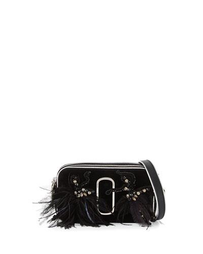 Snapshot Small Velvet Camera Bag, Black