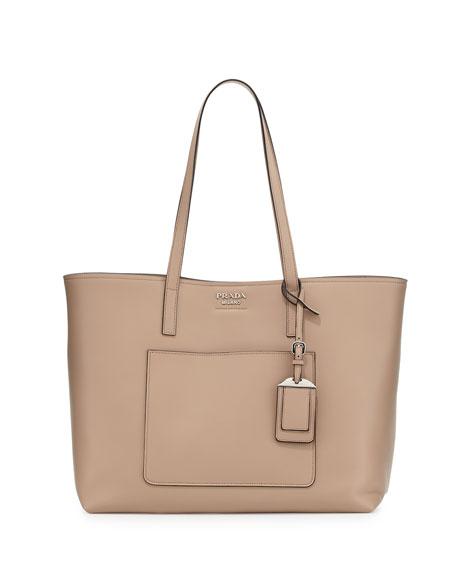 Prada Soft Leather Shopper Tote Bag, Blush (Cameo)