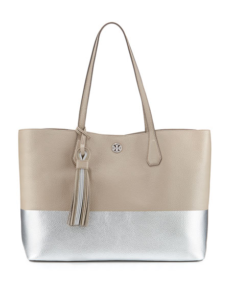 Tory Burch Perry Colorblock Leather Tote Bag, French Gray/Silver