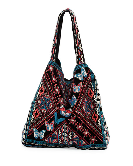 Lorne Velvet Embroidered Tote Bag