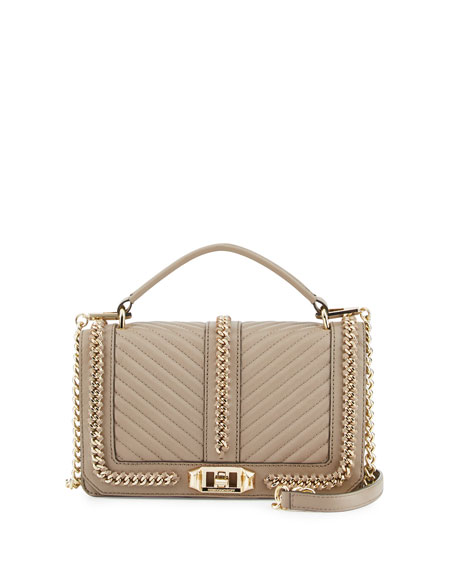 Love Quilted Chain Crossbody Bag, Mushroom
