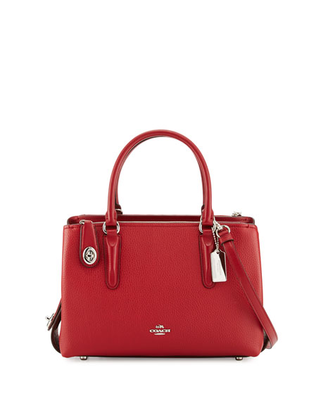 Coach Brooklyn 28 Leather Carryall Bag Silver Red Currant Neiman Marcus