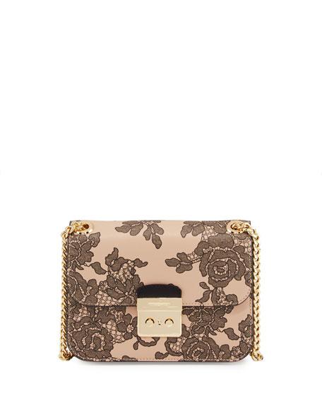 Sloan Medium Lace-Print Chain Shoulder Bag