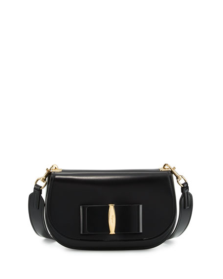 Salvatore Ferragamo Leather Shoulder Bag, Black (Nero)