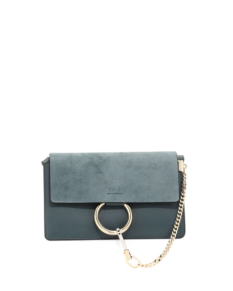 Faye Small Leather And Suede Shoulder Bag - Light blue Chlo esZiqA6poE