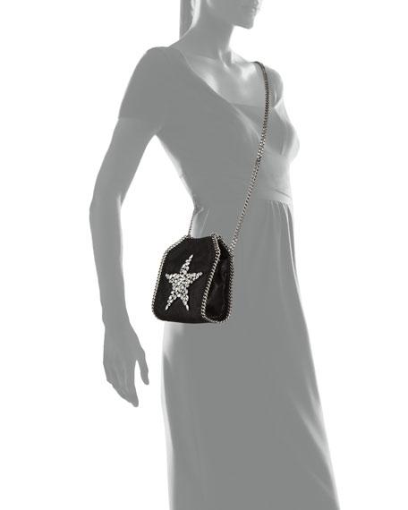 Falabella Tiny Star Shoulder Bag, Black
