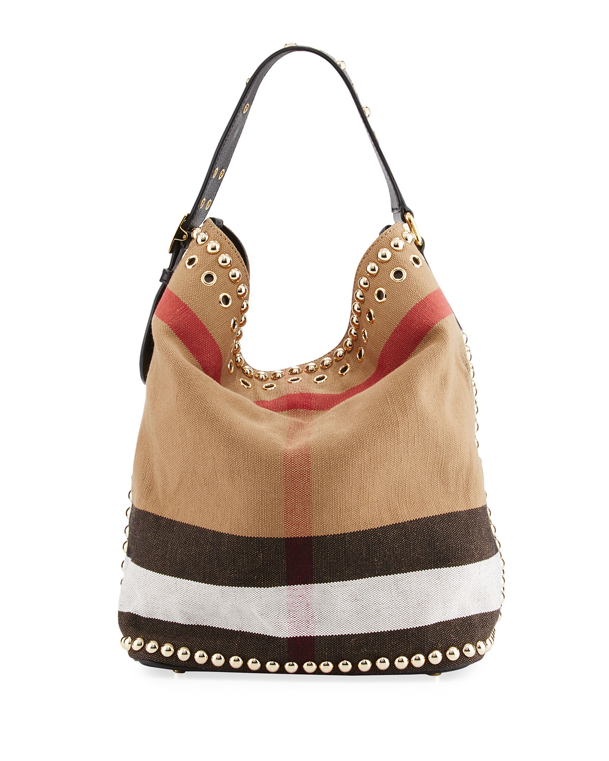 ddf5011f87d4 Burberry Ashby Medium Studded Check Canvas Hobo Bag