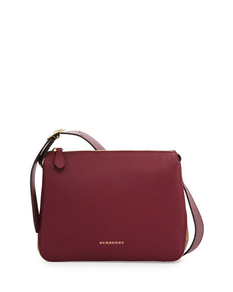 Helmsley Small Leather & House Check Crossbody Bag, Dark Plum