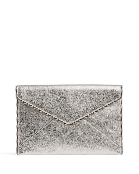 Leo Metallic Leather Clutch Bag, Champagne