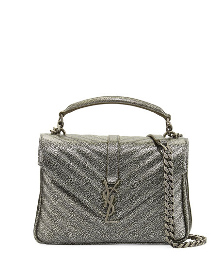 Monogram College Medium Shoulder Bag, Gunmetal