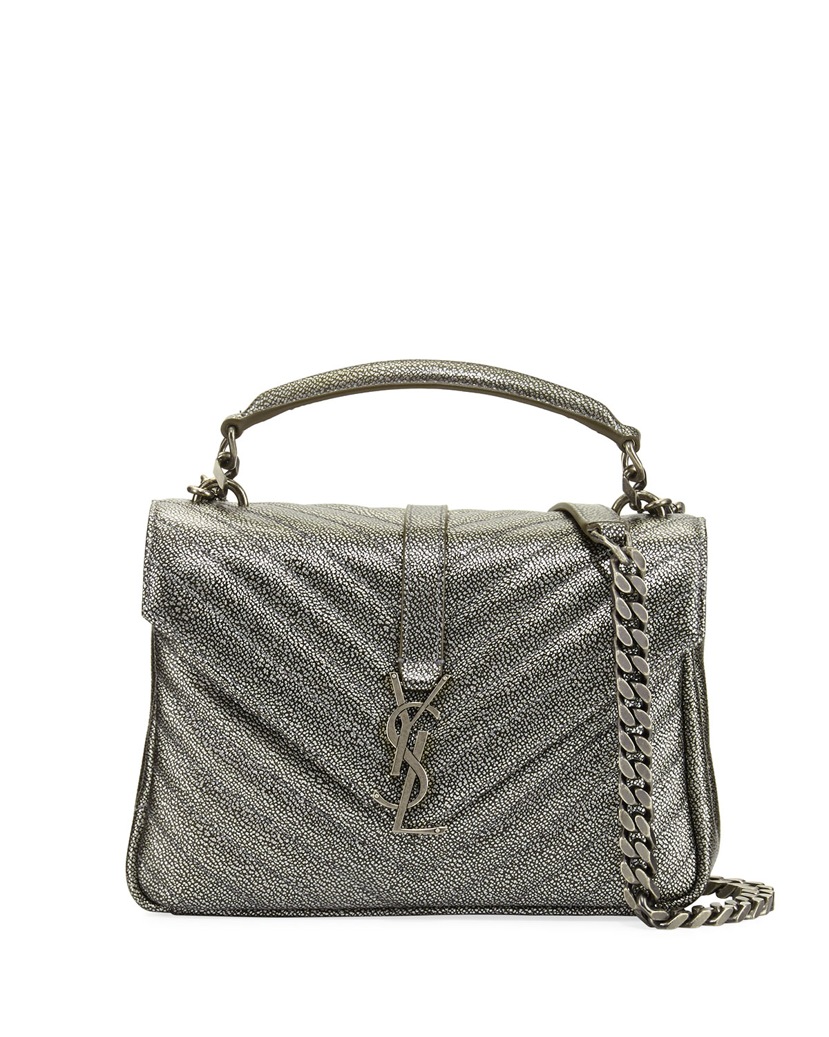 Saint Laurent Monogram College Medium Shoulder Bag, Gunmetal ... 390f37bdf4