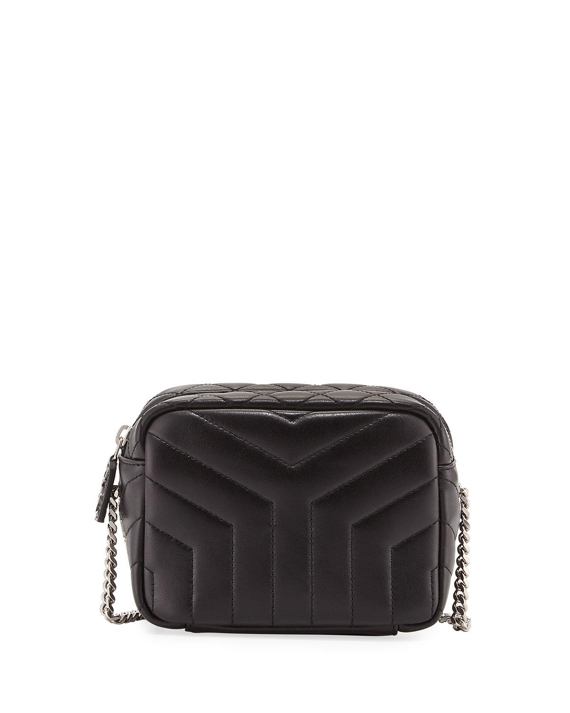 4e2caf9800c Saint Laurent Monogram Y-Quilted Mini Leather Camera Crossbody Bag, Black