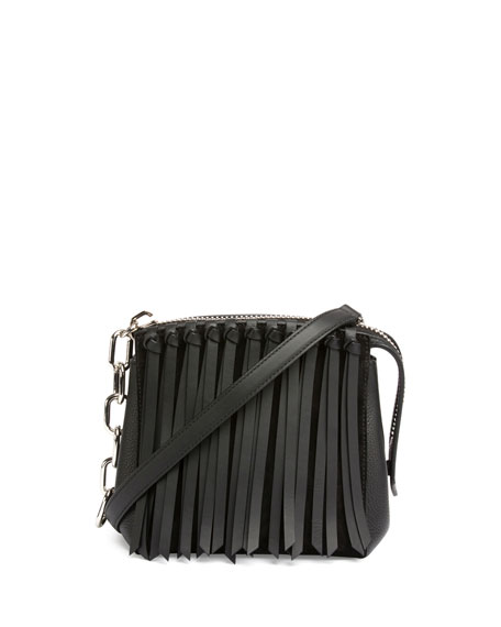 Alexander Wang Attica Flap Fringe Crossbody Bag, Black